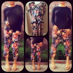 Turned a floral dress into a pair of floral pants #DIY #fashion #sewing