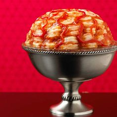 """""""Braaains!"""" Have a Zombie-themed party and serve this delightfully gruesome Shrimp Brain Cocktail. More Halloween treats: http://www.bhg.com/halloween/recipes/halloween-recipe-ideas/?socsrc=bhgpin090813shrimpcocktail#page=18"""