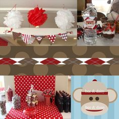 Love this for a baby boy or girl shower theme if you wanted something a little different then the usual pink or blue theme!  Would work wonderfuly for a Winter shower too!  Love sock monkeys...they are so cute!