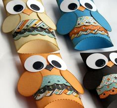 Owl Paper Gift Boxes Set of 12 Blue Brown by DomesticDivaBBG, $14.99