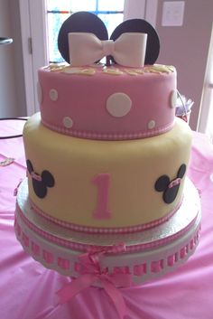 A Minnie-Mouse themed cake was requested for this 1 y.o. birthday extravaganza!  It was fun making!