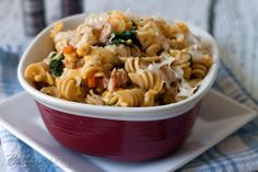 Rotini Pasta in a Creamy Butternut Sauce with Chicken Sausage and Baby Spinach