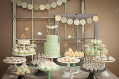 We love the old window frames as backdrop for the dessert table. #babyshower
