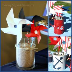Nautical themed party decor...  Cute table centrepiece idea for the christening