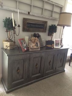 Old Antique side bar, dresser , serving buffet . Refinished. Grey with a dark grey glaze. Refinished furniture.painted.home decor ,bedroom, on Etsy, $1,300.00