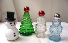 4 Avon Christmas Santa Angel Perfume Cologne Bottles