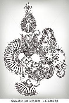 ukrainian designs   Hand draw line art ornate flower design. Ukrainian traditional style ...
