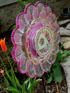 GARDEN and YARD  sun catcher recycled glass painted by GlassBlooms, $35.00