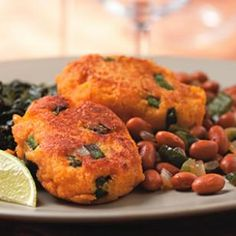 Sweet Potato Fritters with Smokey Pinto Beans.  This site has several inexpensive vegetarian dinner recipes!