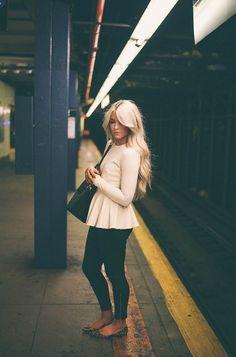 hair colors, peplum tops, flat, fall outfits, long sleev