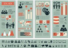 Social Media Flat Infographics Elements by Andrew Kravchuk, via Behance