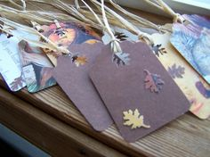 Recycled Fall Autumn Gift Scrapbooking Tags by autumnraincreations, $5.00