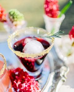 sugar rimmed cocktail, photo by Rachel May Photography http://ruffledblog.com/modern-marie-antoinette-wedding-ideas #drinks #cocktails