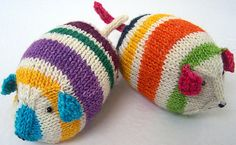 Hand knit TOYs  TWIN Mini Guinea Pigs/Mice/Hamsters by PippsPurses, $20.00