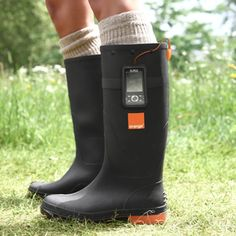 Orange Power Wellies, they are thermoelectric rubber boots that charge your cell phone using heat from your feet. PERFECT!