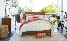 bed frames, west elm bedroom coral