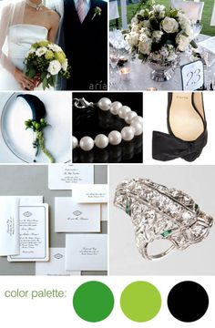 Classic green, black and white wedding color ideas and details