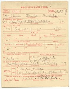 W C Fields Draft registration card (front)for WWI--source, U.S. National Archives