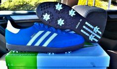 You know I had to do it. Adidas Sambas golf shoes. Blue'd up from the shoe up !!