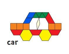 pattern block pictures printable - car, rocket, helicopter, motorcycle