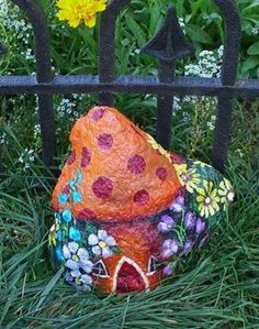 The Mushroom Sweet - adorable painted rock house