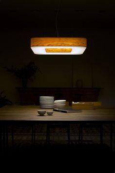 Cuad lamp, made of wood veneer. Suspension wood lighting.