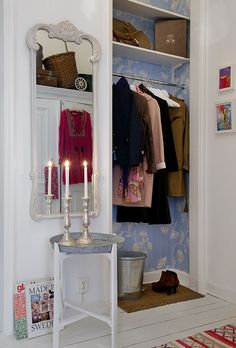 Heartfire At Home - Creating Interiors With Soul....nice way to add interest to a closet!