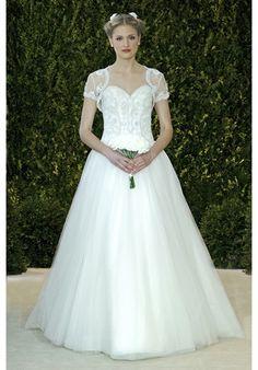 Carolina Herrera's Avery // Scalloped hand emb bodice gown with full tulle ball skirt