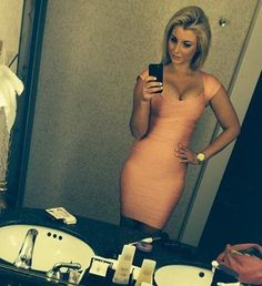 busty girl in tight dress