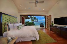 green brown bedroom beachside house