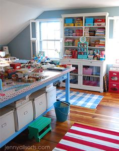 colorful craft room...