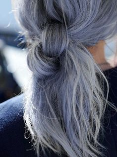 Blue twisted ponytail
