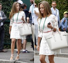 Kim Sears looking chic at Wimbledon 2014 with her Aspinal of London Marylebone Tote