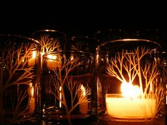 12 Hand Engraved Glass Candle Holders 'Tree Branch' Home Decor Party Favors  Holiday Tea Light Holders  Winter Weddings