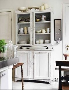 kitchens, interior design, cabinets, dresser, decorating ideas, chicken wire, white, kitchen cupboards, shabby chic decorating