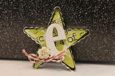 Star Bottlecap with chipboard letter, scrapfest make & take