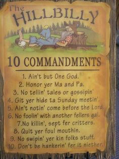 The Hillbilly 10 Commandments