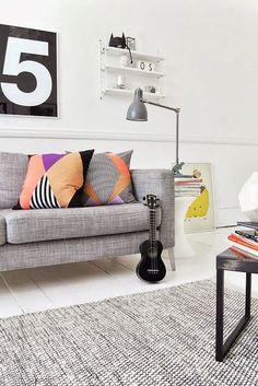 Scandinavisch wonen / Scandinavian style decor, living rooms, bedroom kids, danish design, white, grey, live room, couch pillows, bang bang