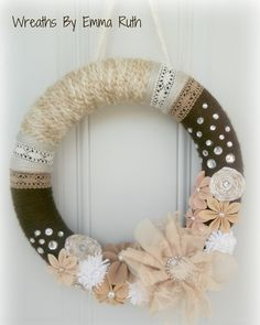 Shabby Chic Yarn Lace Wreath in Browns & Creams.  Has Lace and Fabric Flowers.  Lots of Bling. via Etsy.