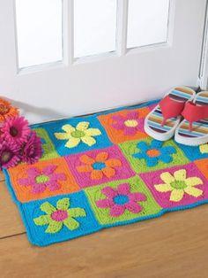 Free pattern Rug, mat Granny squares Crochet Flower Photo credit to yarnspirations.com