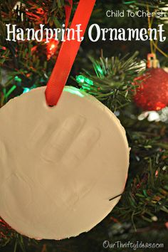 Our Thrifty Idea: @Child to Cherish personalized hand print ornament. #holidayhandprint