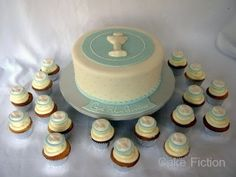 Blue and White Communion Cake with Cupcakes