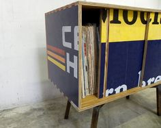 Record cabinet, recycled sign, modern, end table found at petrifieddesign on Etsy.