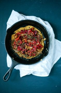 Chickpea Skillet Cake with Za'atar, Caramelized Onions, & Roasted Red Peppers