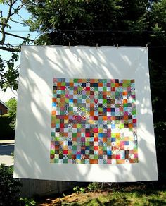 Crafting...postage stamp quilt with cream border