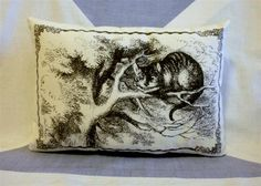 Alice In Wonderland  Cheshire Cat :)   Vintage Style Cushion Pillow. £9.50, via Etsy.