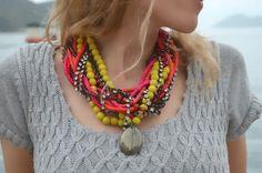 Blast of colours Neon wood smoky quartz and rhinestones by Bayila