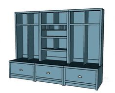 Entryway hutch. Gotta love the mail slots, reclaim your counter space and truly unload when you walk through your door! Free # Plans at Ana-White.com #DIY