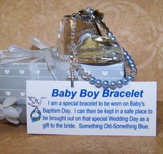 Christening Baby Boy Baptism Bracelet  Swarovski Clear Crystals Blue Pearls on Etsy, $38.00