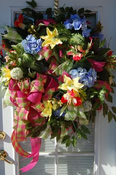 Deco Mesh Spring Wreath by HangingTouches on Etsy, $169.00